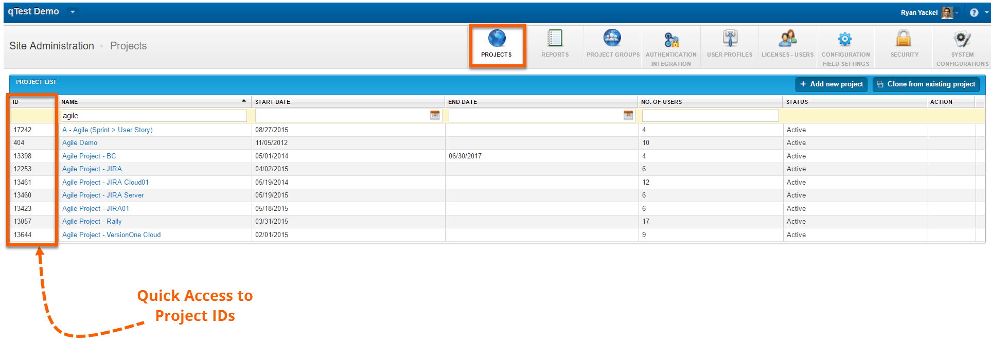 Quick Access to Project IDs