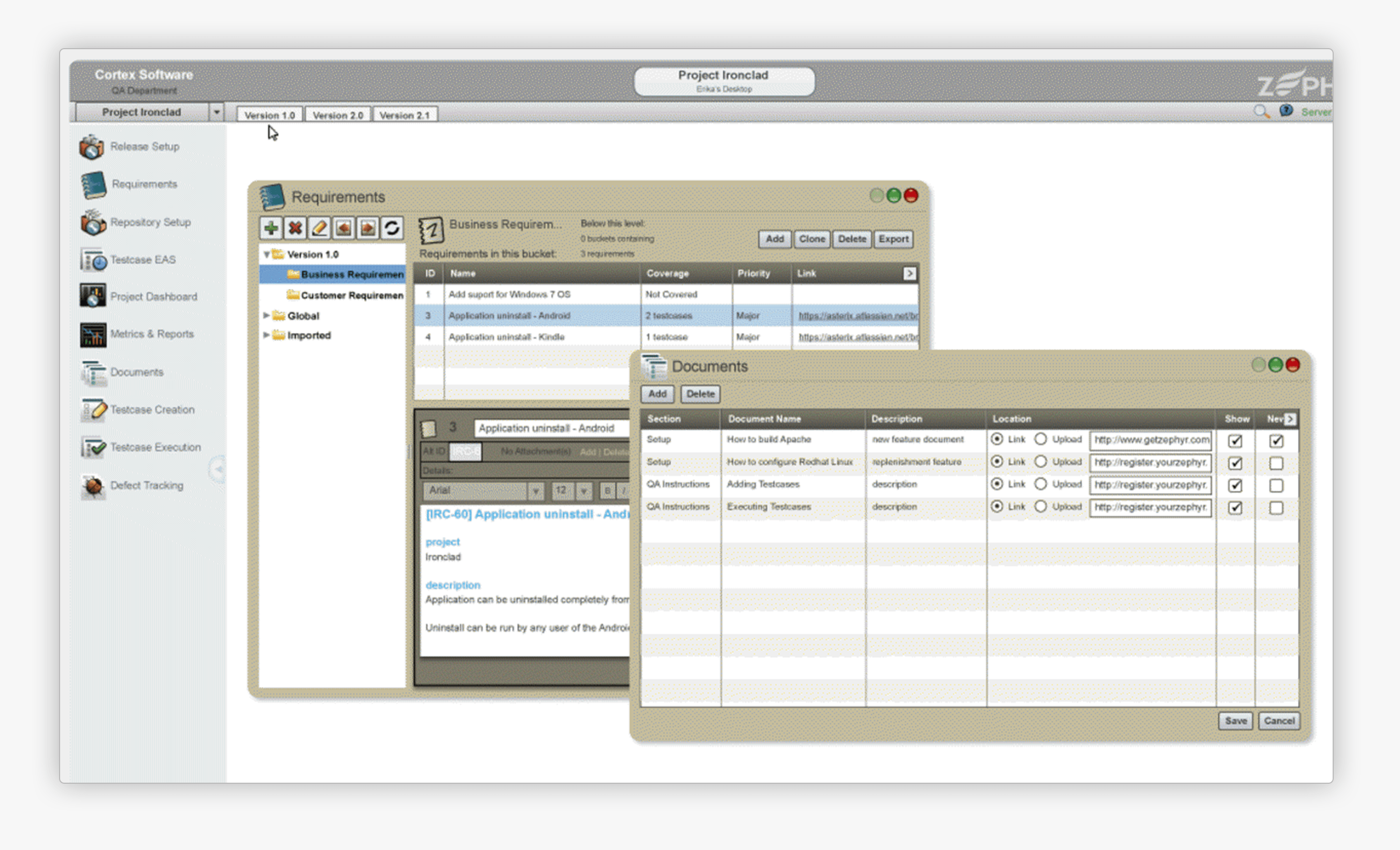 View of Zephyr Enterprise 4.7 Flash based UI