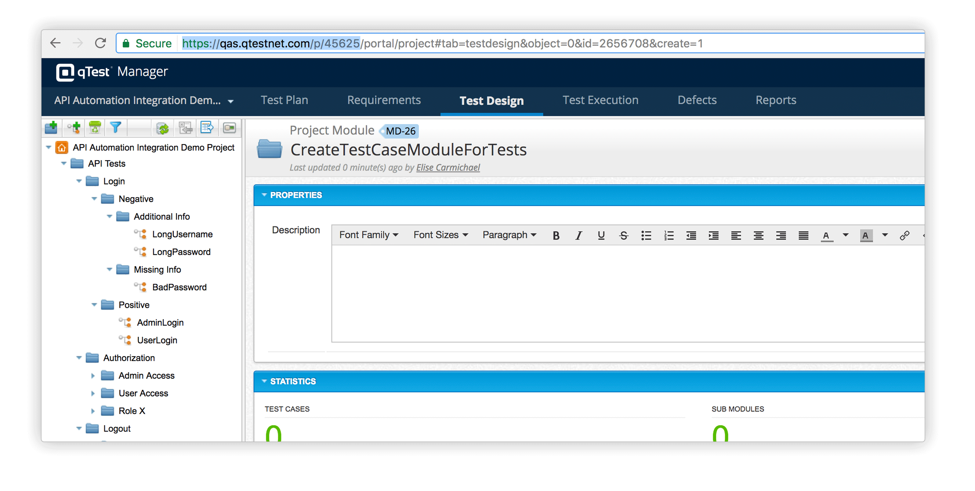 automated api testing - test case qtest 2