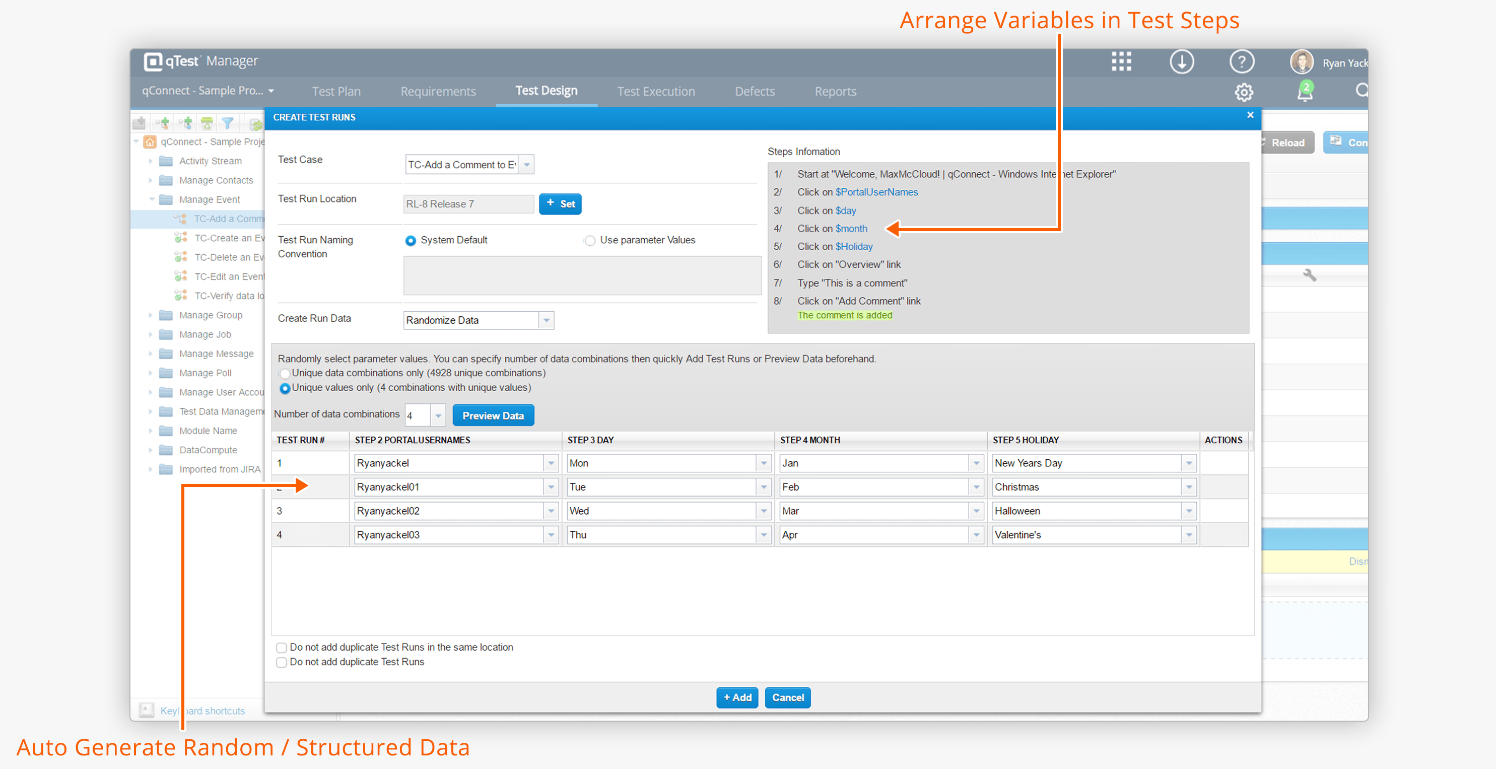 Design Test Cases with Test Data Parameters in qTest Manager