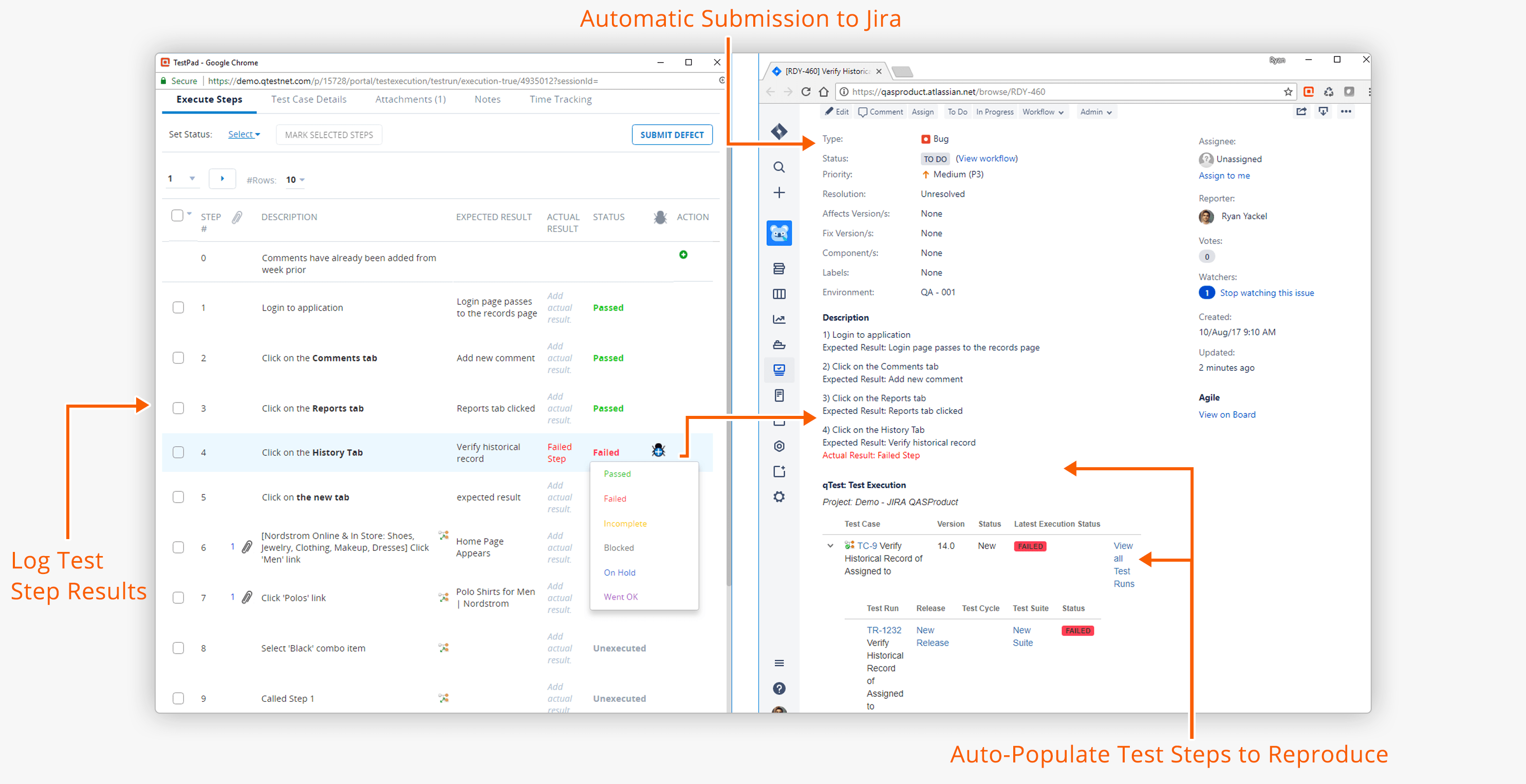 New Test Pad to Jira Integration for Bug Submission